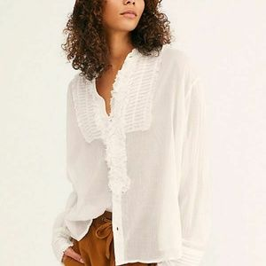Free People FP One Voile Miles Tuxedo Ruffle Top L